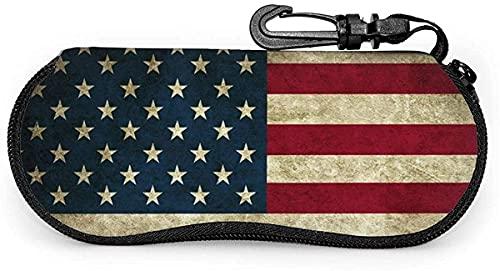 Estuche para gafas Bandera estadounidense-Tabla periódica de elementos Estuche para gafas de sol suave Estuche para gafas para mujeres y hombres, 17x8cm