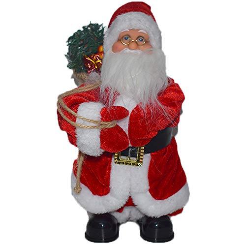 cosedacasa Babbo Natale Rosso con Movimento Luce Musica per Decorazioni Natalizi casa 30cm addobbo Negozi vetrine in Tessuto Ornamentale Molto Bello e Realistico