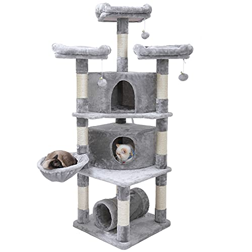 Hey-brother 65' Extra Large Multi-Level Cat Tree Condo Furniture with Sisal-Covered Scratching Posts, 2 Bigger Plush Condos, Perch Hammock for Kittens, Cats and Pets (Light Gray) MPJ030W
