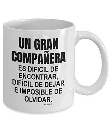 Regalo compañera, tazas desayuno originales, taza regalo, trabajo mujer hombre Navidad - Un gran compañera es difícil de encontrar - MG0071