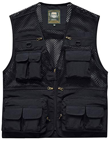 Zhusheng Men's Summer Outdoor Work Fishing Travel Photo Vest 16 Pockets Khaki (XX-Large, Black)