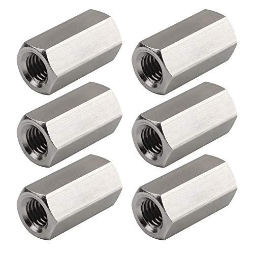 Yodaoke 10pcs M10 x 1.5 x 50mm Long Rod Coupling Hex Nut Connector Zinc Plated