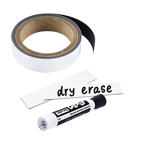 Houseables Magnetic Strip Rolls, Dry Erase Labels, 1� x 25�, Magnet, Glossy White, Write On, Wipe Off, Magnetically Receptive Whiteboard Sheet, Business Filing Cabinet Magnets