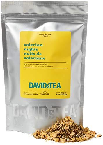 DAVIDsTEA Valerian Nights Loose Leaf Rooibos Tea, Premium Relaxing Sleep Tea with Valerian Root, Coconut and Caramel, 4 oz / 113 g