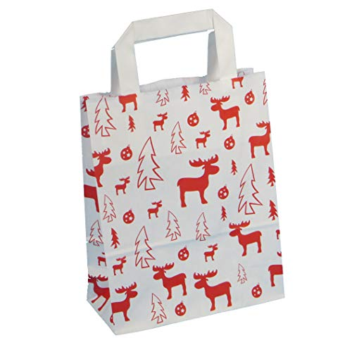 250 Papiertragetaschen Geschenktüten Weihnachten Papiertüten Tragetaschen Papier mit Weihnachtsmotiv Elch Rot auf Weiß 3 Verschiedene Größen zur Auswahl (22+11x28cm)
