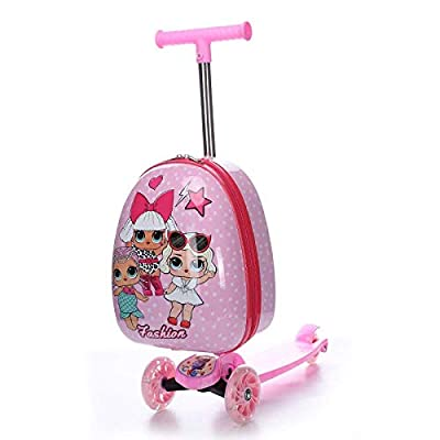 Cute Cartoon kids scooter suitcase on wheels Lazy trolley bag children carry on cabin travel rolling luggage Skateboard bag gift, Spiderman Fun toys for children. (Color : Three Girls)