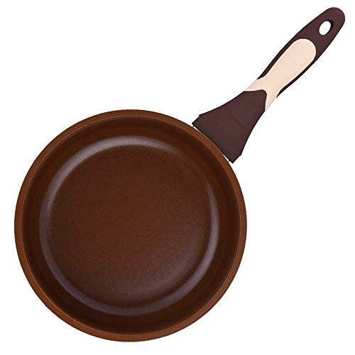 High Temperature Non-stick braadpan Household verdikking Wok Cooker Gasfornuis Universal Chocolate Color Pan Cookware (Size : Large)