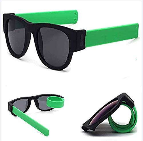 HFSKJWI Gafas De Sol Polarizadas Plegables, Protección UV400,Gafas De Sol De Muñeca De Moda Deportiva Slap-On Wraparound, Senderismo Actividades Al Aire Libre para Adultos Y Niños,Verde