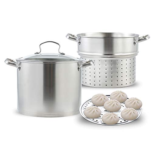 Stainless Steel Pasta Pot Cooker Steamer Pot, 9 Quart Steaming Cookware Boiler Set with Steamer Basket and Glass Lid