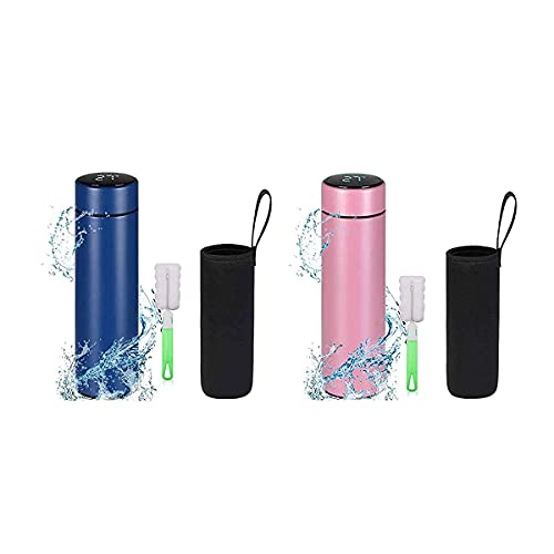 Mosako - Botella isotérmica de acero inoxidable, 500 ml, taza para agua caliente con indicador de temperatura con pantalla LED, botella inteligente con filtro (colores aleatorios)