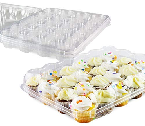 Chefible 24 Mini Cupcake Container - Set of 5 | Plastic Dome Cupcake Box, Mini Cupcakes, Disposable, Durable, Strong Latch, Stackable…