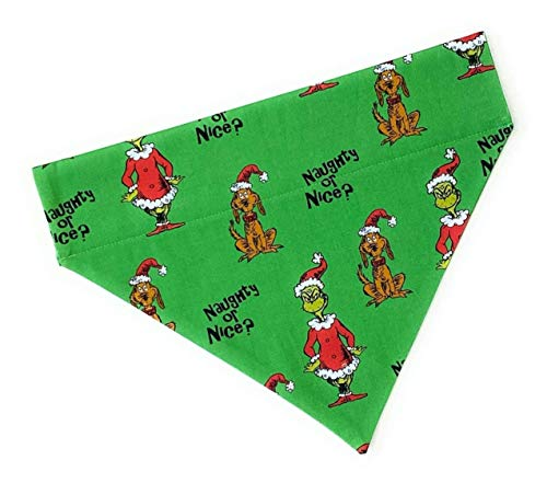Dog Scarf Bandana-Grinch and Max-Christmas-Handmade-no tie slides over collar-Large and Medium sizes