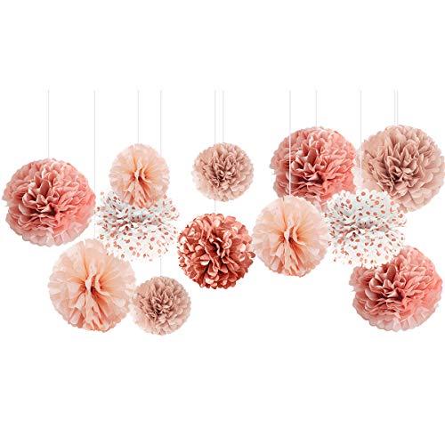 NICROLANDEE Décorations de mariage – Lot de 12 pompons en papier de soie couleur or rose brûlé pour mariage, enterrement de vie de jeune fille, fête prénatale, plafond et décoration de fête