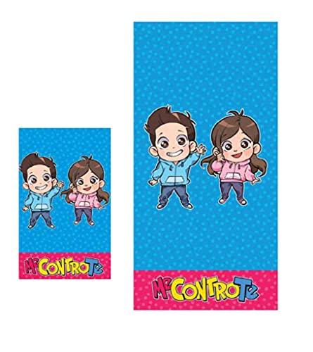 official product Me Contro Te - Juego de toallas de rizo 1 + 1 toalla grande + toalla pequeña azul y rosa cómic personajes baño playa ducha piscina