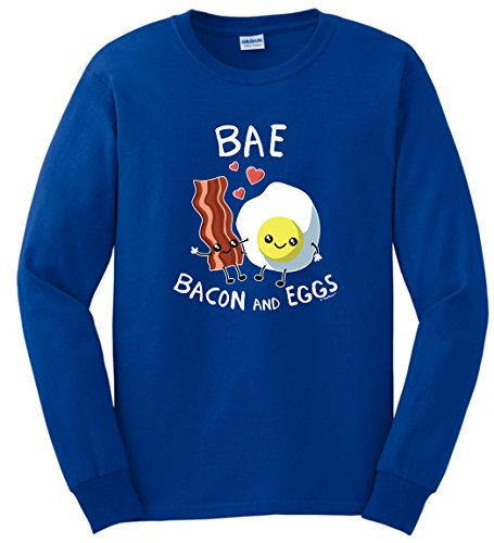 Bacon Themed Gifts BAE Bacon and Eggs Funny Bacon Gift Long Sleeve T-Shirt Large Royal