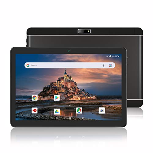 Android Phone Tablet 10 Inch, 3G Unlocked Phablet with Dual SIM Card Slots and Cameras, 1280X800 IPS Display,Quad-Core Processor, GMS Certified,WiFi, Bluetooth, GPS –Black