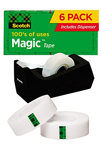 Scotch Magic Tape, 6 Rolls with Dispenser, Numerous Applications, Invisible, Engineered for Repairing, 3/4 x 1000 Inches, Boxed (810K6C38)