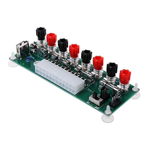 watersouprty ATX Benchtop Computer Power Supply Electric Circuit 24Pins Breakout Board Module DC Plug Connector USB 5V Port Computer Components