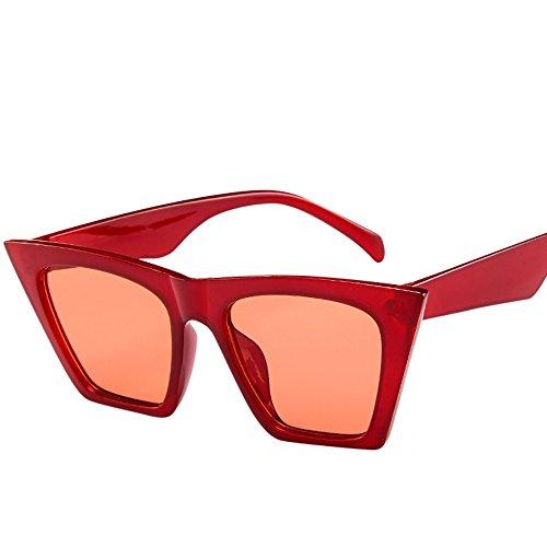Skang Mode Damen Übergroße Sonnenbrille Vintage Cat Eye Super Coole Damenbrillen Sunglasses Pilot Brille Sportbrille Eyewear(Einheitsgröße,Rot)
