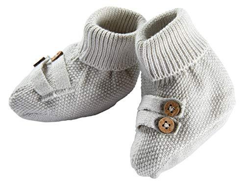 Bio Baby Strickschuhe 100% Bio-Baumwolle (kbA) GOTS zertifiziert, Hellgrau Melange, 62/68
