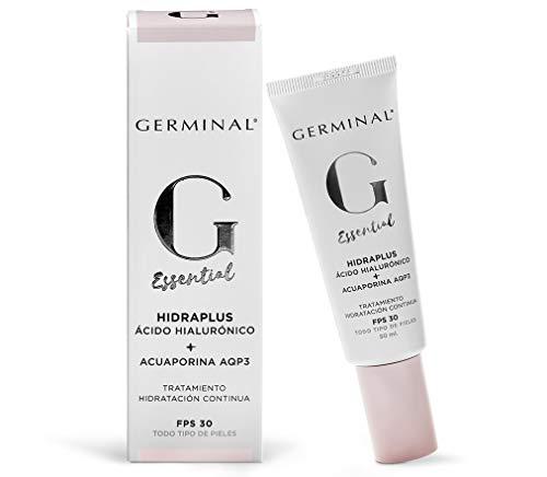 Germinal Essential Hidraplus - Crema Facial de Ácido Hialurónico, Activador de Acuaporinas y Aceite de Marula con un Efecto Hidrante y Nutritivo Intensivo, Antipolución y FPS 30-50 ml