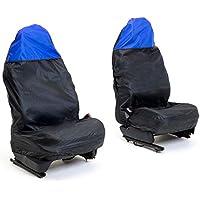 Auto Companion AUTOC-44 - Fundas universales impermeables para asientos de coche (negro y azul en la parte superior, juego de 2)