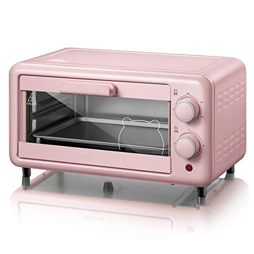 Toaster oven QYJH-11L Mini Four à Poser - Tube Chauffant en Acier Inoxydable - avec Plaque de Cuisson, Plaque à laitier, 800W, Rose