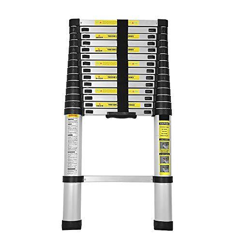 Hengda 4.4m Flexibel Teleskopleiter Anlegeleiter aus hochwertigem Alu Teleskop-Design Anwendbarkeit Multifunktionsleiter Maximale Belastbarkeit 150 kg für Außenbereich