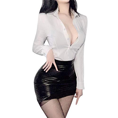 Sexy Women's Secretary Costume Office Lady Uniform Deep V...