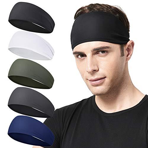 Acozycoo Mens Running Headband,5Pack,Mens Sweatband Sports Headband for Running, Cycling, Basketball,Yoga,Fitness Workout Stretchy Unisex Hairband (Black,White, Green, Dark Gray, Dark Blue)