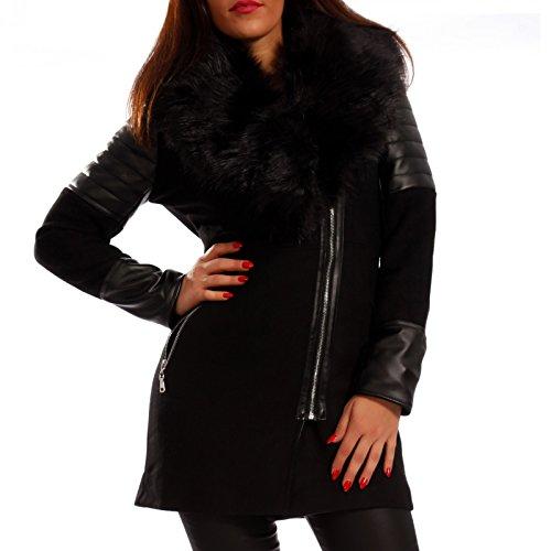 Young-Fashion Damen Kurzmantel Wollmantel mit Kunstledereinsätzen & Kunstfellkragen, Farbe:Schwarz;Größe:38