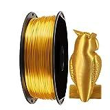 Seda Brillante OroFilamento de Impresora 3D PLA- Filamento 3D de 1.75 mm EKOHOME para Impresora 3D/Pluma Impresión 3D, 1KG / 360m, 0.02 mm Tolerancia, Envasado vacío, Aprobado por RoHS no Tóxico
