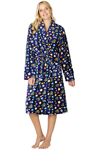 INTIMO Women's Happy Hanukkah Robe, Blue, L/XL