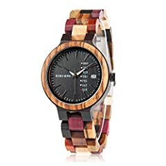 Handmade natural wooden watch,made of precious ebony, red sandalwood, zebra wood, natural bamboo mixed materials, no paint , exquisite craftsmanship, truly natural products do not miss. Adjustable multi-color wood watch band, unique mix of pure wood ...