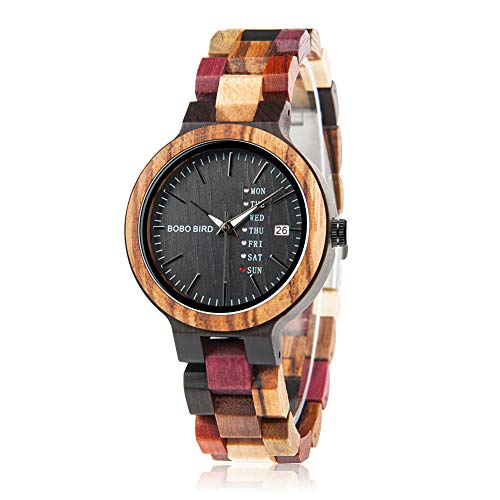 BOBO BIRD Relojes de madera coloridos analógicos de cuarzo con fecha y fecha, reloj de madera hecho a mano deportivo casual con caja de regalos