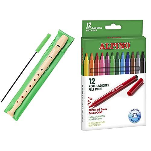 Hohner 9508 Flauta De Plástico + Alpino Rotuladores Coloring Para Niños Estuche De 12 Colores Con Punta Fina 3Mm Tinta Lavable Perfecto Para Manualidades, Pintar Mandalas O Material Escolar