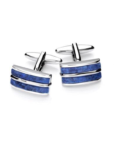 Vincenzo Boretti Herren Manschettenknöpfe rechteckig Silber-blau echter Sodalith Box Etui edel elegant zum Hemd für Business Hochzeit
