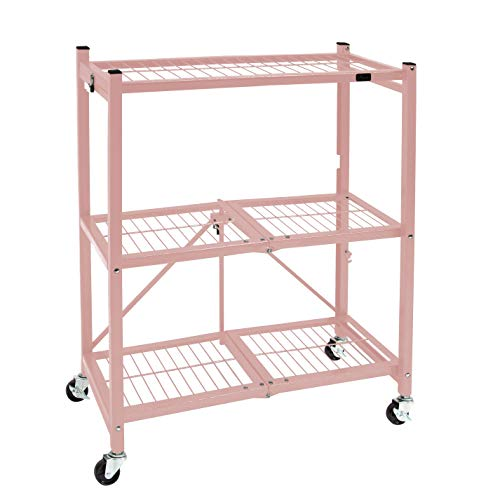 Origami 3 Shelf Foldable Storage Unit on 3' Caster Wheels, Unfolds in 5 Seconds, Holds up to 750 Pounds, Metal Organizer Wire Rack, 29' x 13' x 36', Heavy-Duty - Pewter