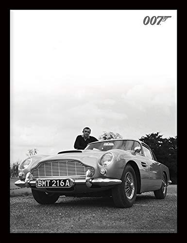 James Bond Sean Connery gerahmter Kunstdruck, 30x 40cm, Schwarz/Weiß