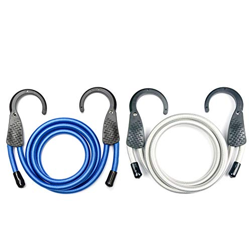 micagos Adjustable Bungee Cord Bungee Straps 48 Inch Blue/Grey with Extra Wide...
