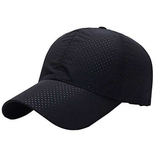Reefa - Gorra de béisbol para Correr, de Verano, de Malla Ultrafina, de Secado rápido, Ligera, para Correr, Pesca, Negro, Talla única