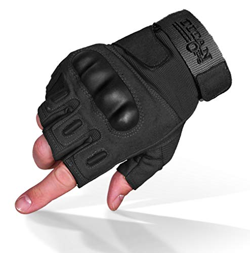 TitanOPS Fingerless Hard Knuckle Motorcycle Military Tactical Combat Training Army Shooting Outdoor Gloves (Black, L)