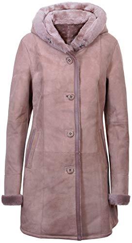 Infnity Leather Damen Elegante Taupe Mit Kapuze Wildleder Merino Shearling Schaffell Jacke XS