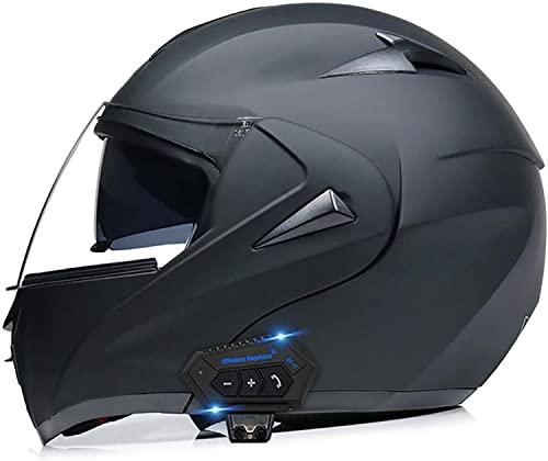 Casco Bluetooth para Motocicleta para Adultos, Abatible Hacia Arriba Doble Visera Frontal Modular Casco de Motocross Antivaho Varios Colores/Lentes, Aprobado por ECE F,M(57-58)