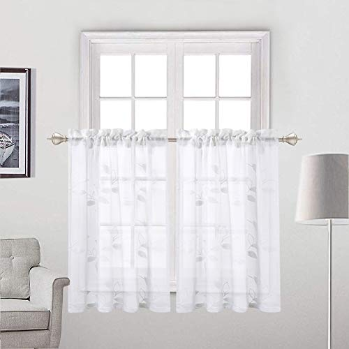 Haperlare Embroidered Sheer Tier Curtains, Leaves Pattern Matched Ribbon Embroidery Short Window Curtain, Rod Pockrt Floral Half Window Voile Kitchen Cafe Curtains, 26