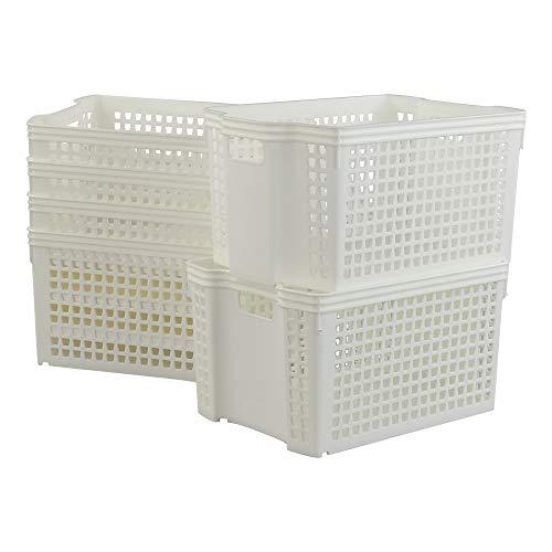 Neadas Aufbewahrungskörbe Plastikkorb aus Kunststoff, Witzige Form, Weiß, 6 Packungen