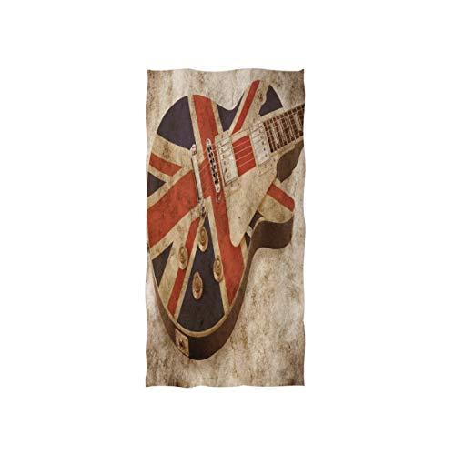 MNSRUU Handtuch mit Gitarre, Motiv Union Jack, weich, für Badezimmer, Spa, Sport, 76 x 38 cm