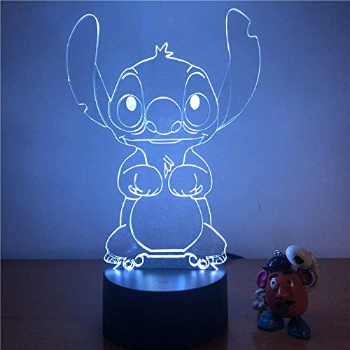 3D Illusion Light Stitch Cartoon 3D Led Night Lights Figura de acción 7 Color Touch Illusion óptica Lámpara de mesa Decoración para el hogar Modelo