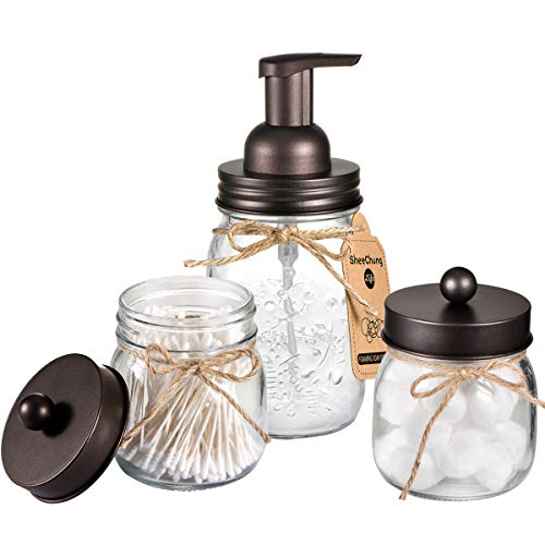 Mason Jar Bathroom Accessories Set - Mason Jar Foaming Hand Soap Dispenser and Qtip Holder Set - Rustic Farmhouse Decor Apothecary Jars Bathroom Countertop and Vanity Organizer (Bronze)-Patent Pending