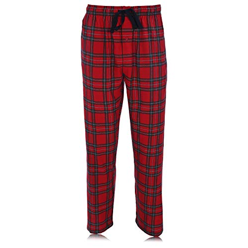 Hanes Ultimate Men\'s Flannel Pant, Red Plaid, Small